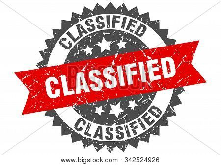 Classified Grunge Stamp With Red Band. Classified