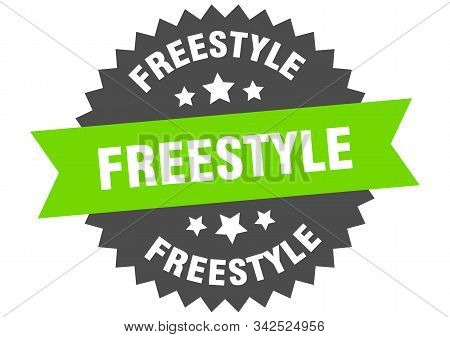 Freestyle Sign. Freestyle Green-black Circular Band Label
