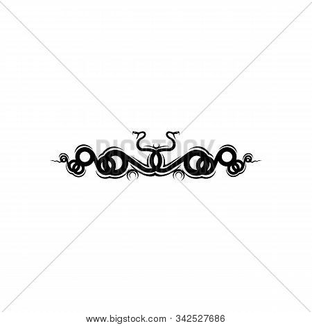 Bunch Of Angry Snakes, Isolated Rattlesnakes. Vector Reptiles, Crossed Vipers, Tattoo Design