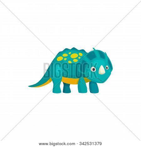 Brontosaurus Cartoon Spotted Dinosaur With Horn Isolated. Vector Prehistoric Animal, Brachiosaurus D