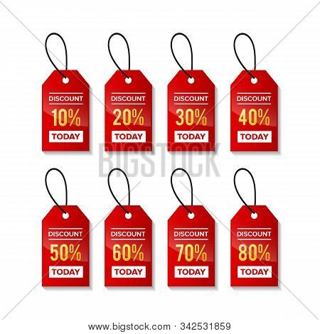 Price Discount Sale Tag. Red Label. Designs For Retail, Special Offer, Mega Sale, Big Sale, Hot Sale