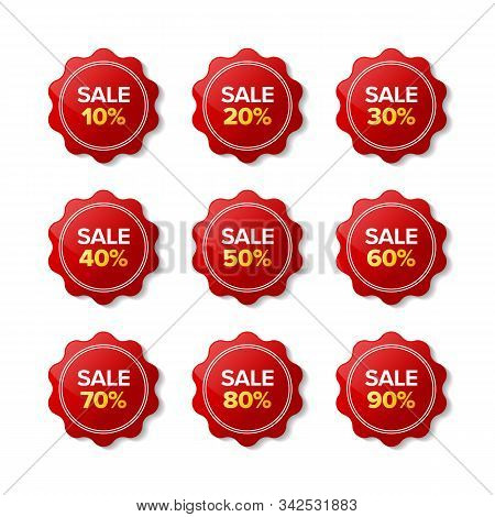 Discount Sale Sticker Red Label. Designs For Retail, Special Offer, Mega Sale, Big Sale, Hot Sale, P