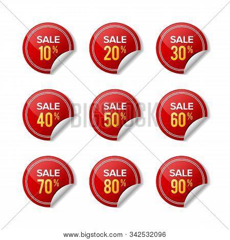 Sale Sticker Discount Red Label. Designs For Retail, Special Offer, Mega Sale, Big Sale, Hot Sale, P