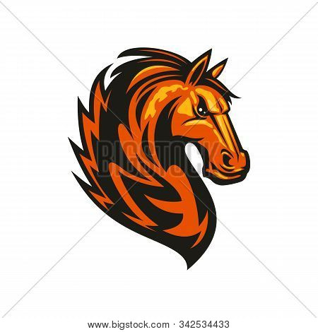Stallion Mustang Isolated Horse Head. Vector Equestrian Sport Mascot, Racehorse Animal