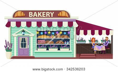 Bakery Flat Vector Illustration. Pastry Cafe Exterior. Bakeshop Front View. Patisserie Establishment