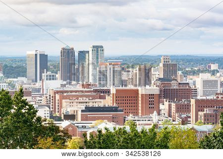 Birmingham, Al - October 7, 2019: City Skyline Of Birmingham, Alabama From Vulcan Park