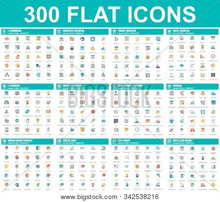 Simple Set Of Vector Flat Icons. Contains Such Icons As Business, E-commerce, Travel, Vacation, Educ