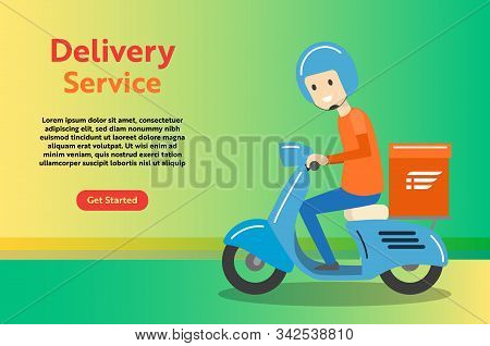 Delivery Boy Ride Scooter Motorcycle Service For Online Delivery Service Concept, Web Landing Page,