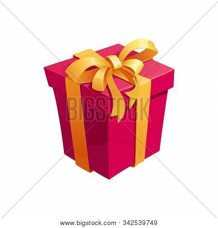 Gift Box Cartoon Icon Of Present. Gift Box And Present Bag With Ribbon Bow For Birthday And Valentin