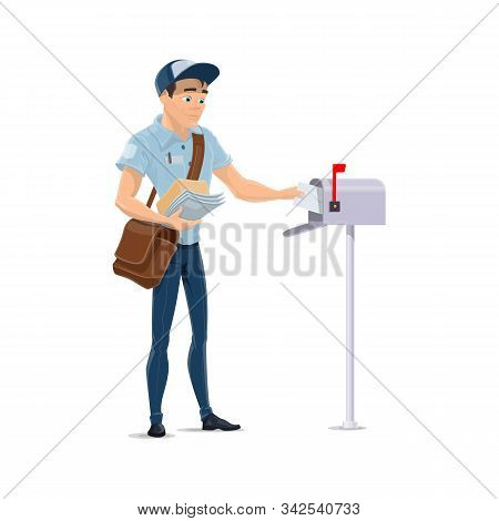 Mailman Delivering Letters, Putting Envelopes Into Postbox Vector Cartoon Postman Isolated Vector