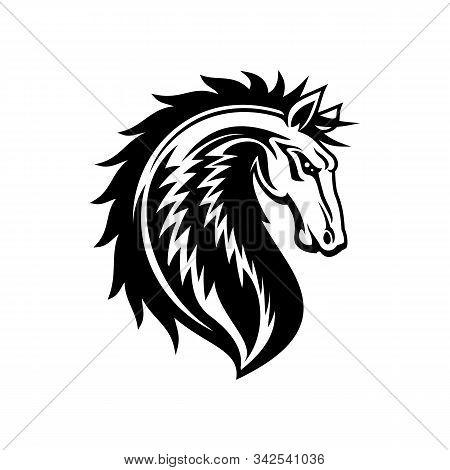 Heraldic Horse, Royal Vector Equine Emblem. Isolated Horse Stallion Head, Royal Heraldry Symbol