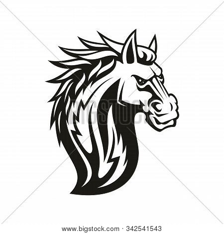 Horse Mustang Head Isolated. Vector Equestrian Sport Mascot, Tattoo Mare Or Stallion