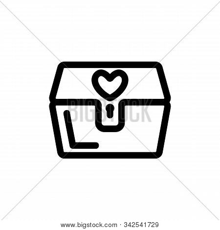Casket On The Lock Icon Vector. A Thin Line Sign. Isolated Contour Symbol Illustration