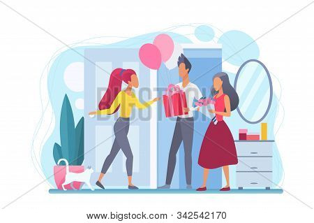 Girl Greets Guests Flat Vector Illustration. Birthday Party At Home. People With Presents. Hospitali