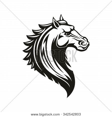 Horse Head Icon Of Black Tribal Animal. Wild Mustang Stallion Or Mare With Curved Neck And Ornamenta