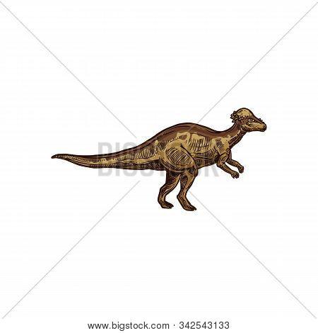 Dino Cartoon Prehistoric Raptor Animal Isolated Sketch. Vector Prehistoric Animal, Cartoon Dino Masc