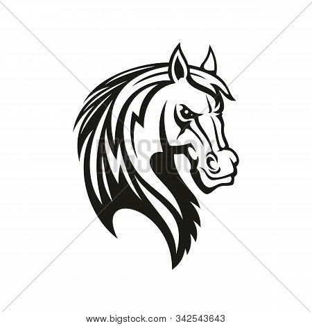 Horse Animal Icon Of Tribal Tattoo Or Racing Sport Mascot. Head Of Black Stallion, Wild Mustang Or R