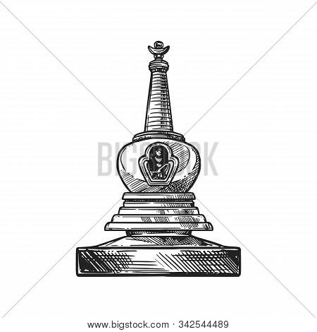 Buddhism Religious Symbol, Stupa Shrine. Buddhist Worship And Hinduism Dharma Religion Vector Sketch