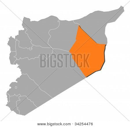 Political map of Syria with the several governorates where Deir ez-Zor is highlighted. poster