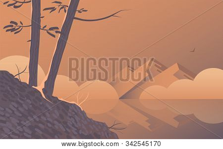 Morning Landscape With Trees On The Lake.