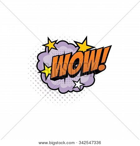 Sound Blast, Wow Bubble Chat, Comic Book Cartoon Icon. Vector Wow Exclamation Sound Cloud Explosion