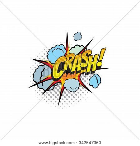 Comic Book Sound Blast, Crash Bubble Cartoon Halftone Icon. Vector Crash Sound Blast Explosion Pop A