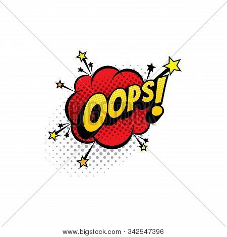 Sound Blast, Oops Bubble Chat, Comic Book Cartoon Icon. Vector Oops Exclamation Sound Cloud Explosio