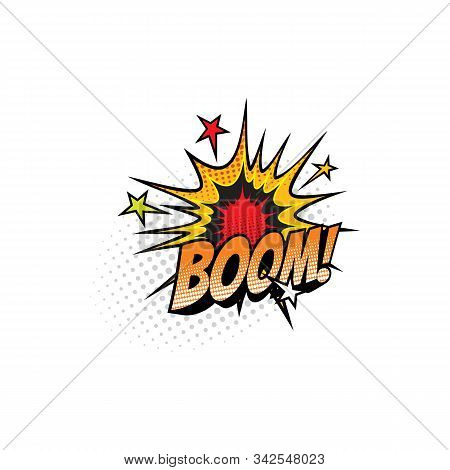 Boom Sound Blast, Comic Book Cartoon Bubble Chat Icon. Vector Boom Sound Cloud Explosion With Stars