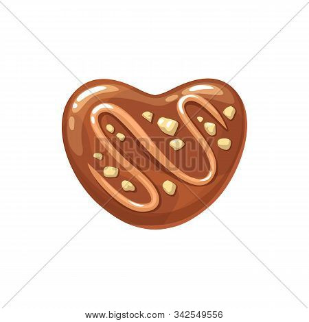 Praline Chocolate Candy Topped By Cocoa And Nuts Isolated. Vector Sweet Dessert