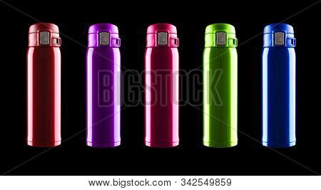 Red Vacuum Tumbler With Safety Lock On Black Background Including Clipping Path