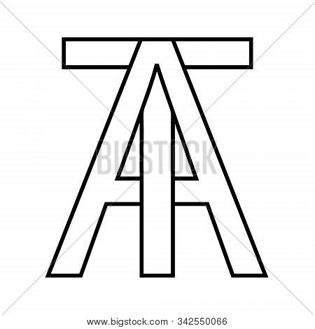 Logo Sign At, Ta Icon Sign Interlaced Letters A, T Vector Logo At, Ta First Capital Letters Pattern