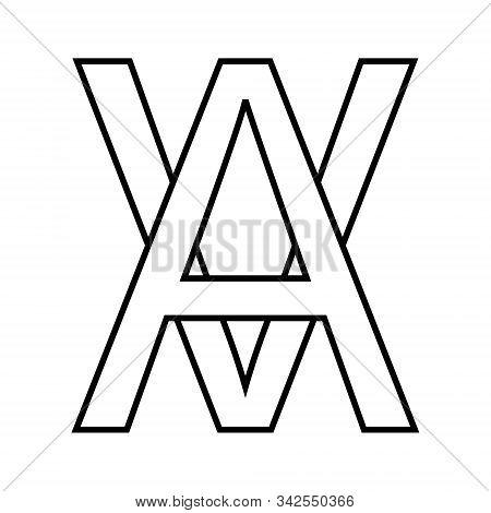 Logo Sign Av, Va Icon Sign Interlaced Letters A, V Vector Logo Av, Va First Capital Letters Pattern