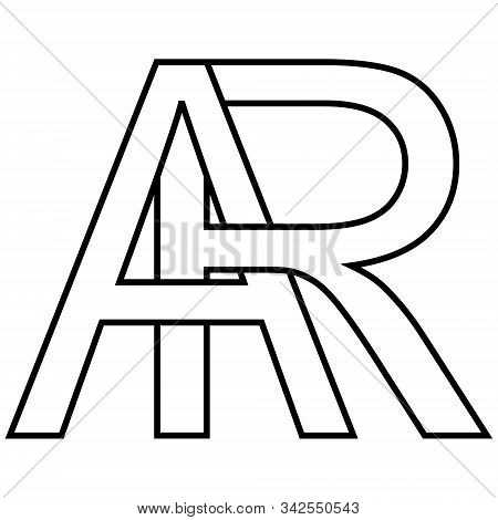 Logo Sign Ar, Ra Icon Sign Interlaced Letters A, R Vector Logo Ar, Ra First Capital Letters Pattern