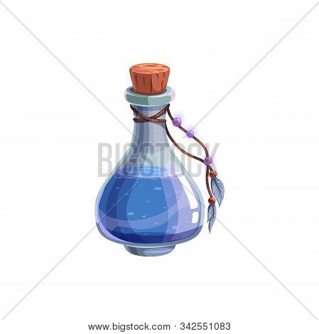 Mysterious Halloween Witch Potion Isolated Bottle With Blue Elixir And Feathers. Vector Liquid In Gl