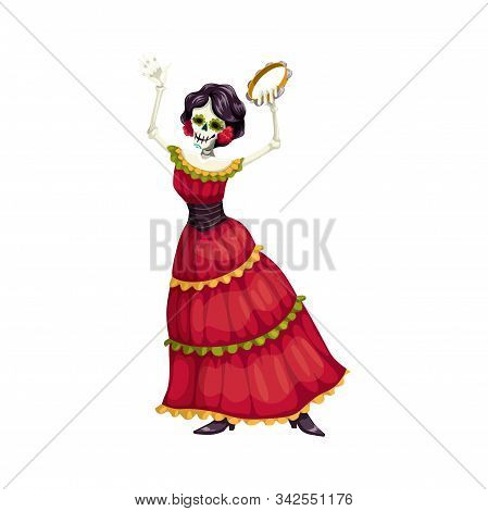 Mexican Woman Dancer With Catrina Calavera Skull Isolated. Vector Woman With Tambourine, Mexico Dres