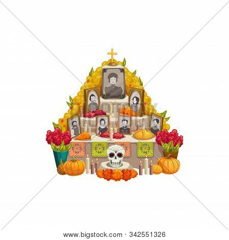 Dia De Los Muertos Altar With Offerings To Day Of Dead Isolated. Vector Family Photos, Pumpkins And