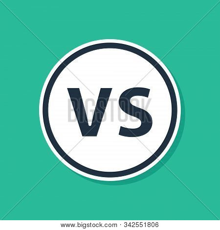 Blue Vs Versus Battle Icon Isolated On Green Background. Competition Vs Match Game, Martial Battle V
