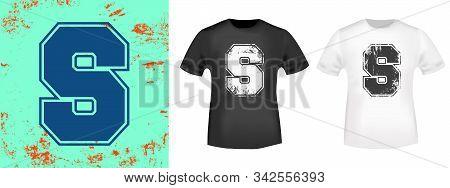 Letter S Retro T-shirt Print Stamp For Tee, T Shirts Applique, Vintage Fashion, Badge, Label Clothin