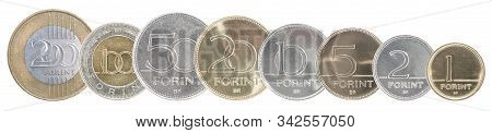 A Full Set Of Hungarian Forint Coins Stand In A Row One After Another. Isolated Over White Backgroun