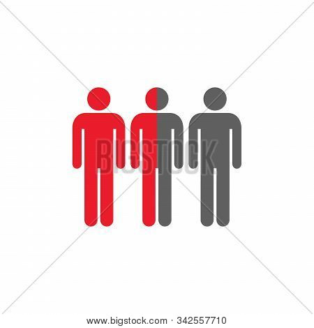 Half Of Peoples Group Icon Vector. Stock Vector Illustration Isolated On White Background.