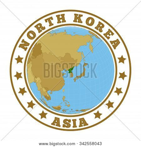North Korea Logo. Round Badge Of Country With Map Of North Korea In World Context. Country Sticker S