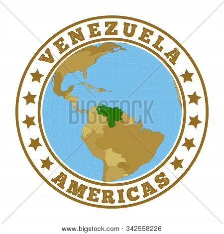 Venezuela Logo. Round Badge Of Country With Map Of Venezuela In World Context. Country Sticker Stamp