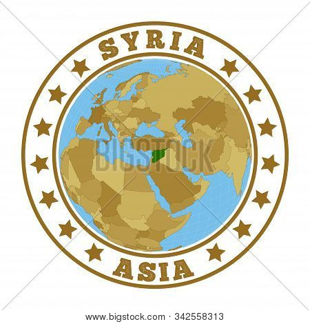 Syria Logo. Round Badge Of Country With Map Of Syria In World Context. Country Sticker Stamp With Gl