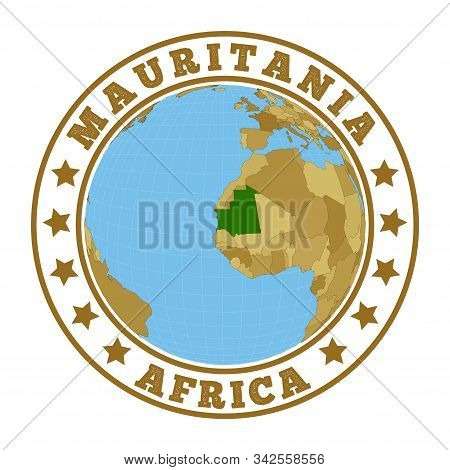 Mauritania Logo. Round Badge Of Country With Map Of Mauritania In World Context. Country Sticker Sta