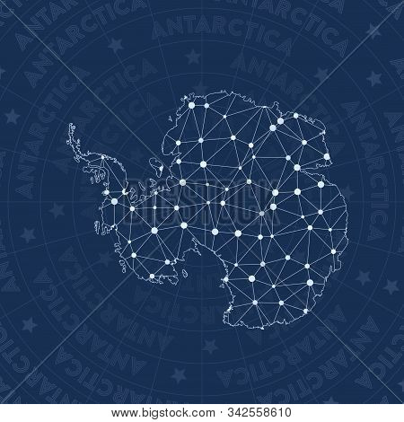 Antarctica Network Style Country Map. Amusing Space Style, Modern Design For Infographics Or Present