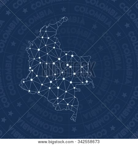 Colombia Network Style Country Map. Ecstatic Space Style, Modern Design For Infographics Or Presenta