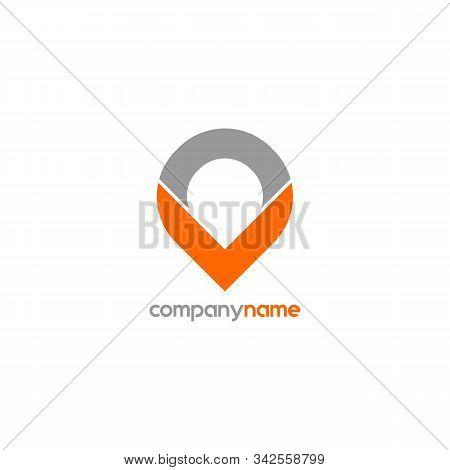 Letter Vo Or Ov Alphabet Logo Design Template, Map Icon Logo Concept, Monogram Logotype, Pictogram S
