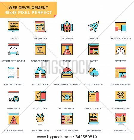 Flat Line Web Design And Development Icons Set For Website And Mobile Site And Apps.