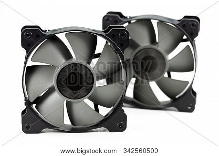 Two High Performance Cooling Fans 120 Mm For Computer Hardware Isolated On White Background