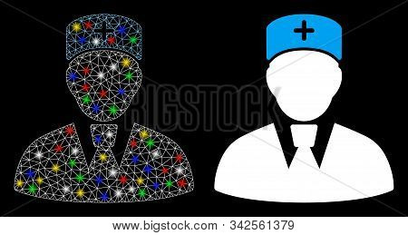Flare Mesh Head Physician Icon With Glare Effect. Abstract Illuminated Model Of Head Physician. Shin